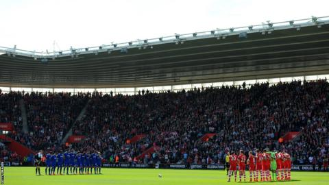 Players, fans and officials observe a minute's silence to mark the 25th anniversary of the Hillsborough disaster prior to the Premier League match between Southampton and Cardiff City at St Mary's Stadium