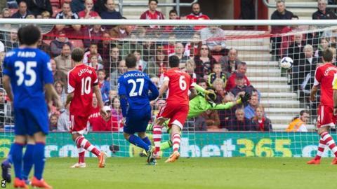 Cardiff City defender Juan Cala scores his crucial goal at Southampton