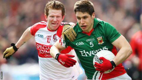 Enda Lynn and Lee Keegan in action at Croke Park