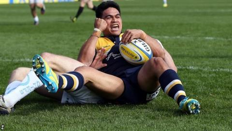 Worcester winger David Lemi celebrates the first of his two tries in Saturday's narrow home defeat by Exeter