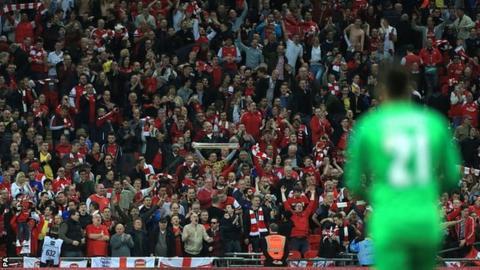 Arsenal fans celebrate