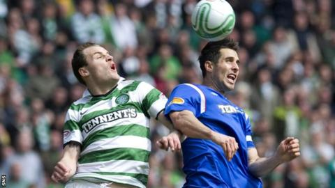Anthony Stokes and Carlos Bocanegra in an Old Firm game