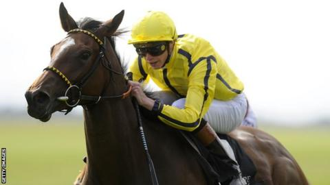 James Doyle rides Rizeena to victory in the Moyglare Stud Stakes
