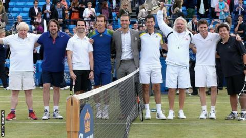 London Mayor Boris Johnson, Jonathan Ross, Jimmy Carr, Andy Murray, Ross Hutchins, Tim Henman, Sir Richard Branson, Eddie Redmayne and Michael McIntyre pose during the Rally Against Cancer charity match.