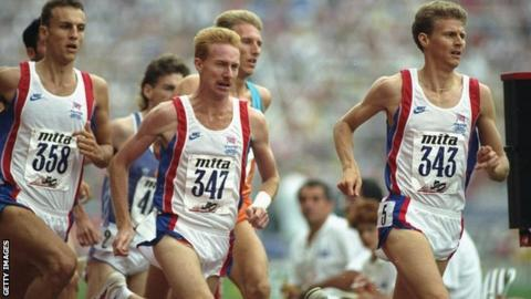 Steve Cram and Peter Elliot in action for Great Britain