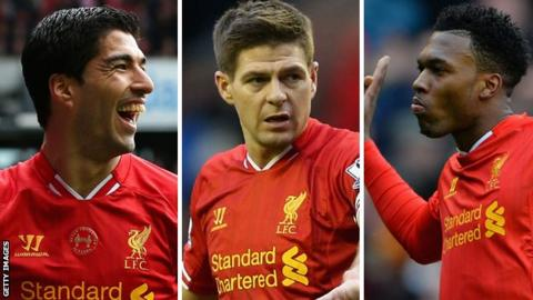 Luis Suarez, Steven Gerrard and Daniel Sturridge