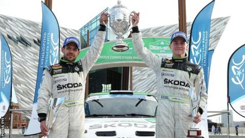 Esapekka Lappi and co-driver Janne Ferm after their victory in the 2014 Circuit of Ireland Rally.