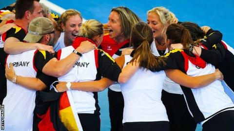 Germany celebrate their Fed Cup win over Australia