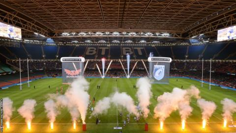 Fireworks ahead of Cardiff Blues v Scarlets - the first of two Welsh Pro12 rugby derbies at the Millennium Stadium