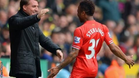 Liverpool boss Brendan Rodgers (left) and Raheem Sterling