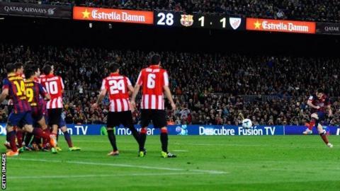 Lionel Messi shoots