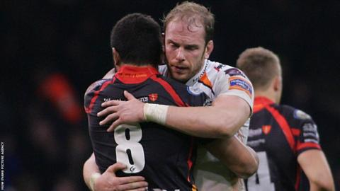 Wales team mates Taulupe Faletau and Alun Wyn Jones embrace at the end of the Ospreys' Pro12 derby victory against the Dragons at the Millennium Stadium