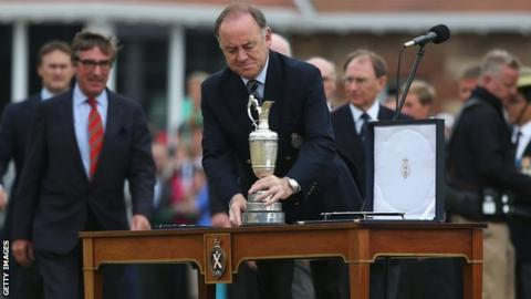 Peter Dawson with the Open Championship trophy