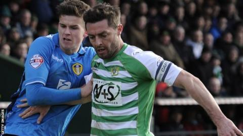 Jamie McAllister playing for Yeovil