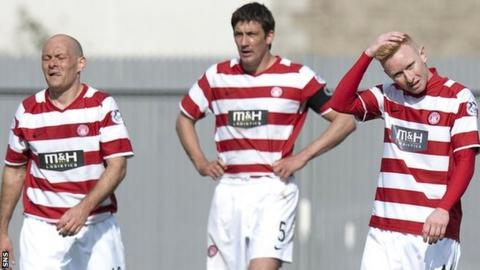 Alex Neil and his Accies players look disconsolate