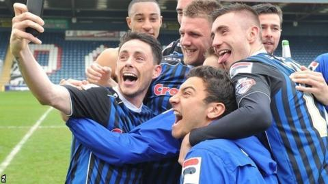 Rochdale players celebrate with selfie