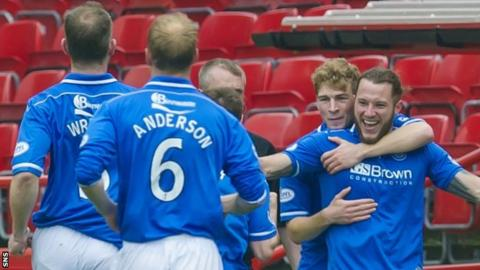 St Johnstone celebrate Stevie May's goal at Pittodrie