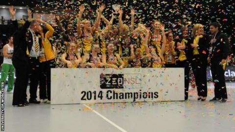 Manchester Thunder celebrate winning the Superleague title