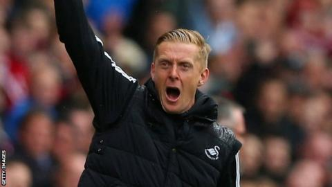 Garry Monk shouts at the players during Swansea's 4-1 win over Aston Villa