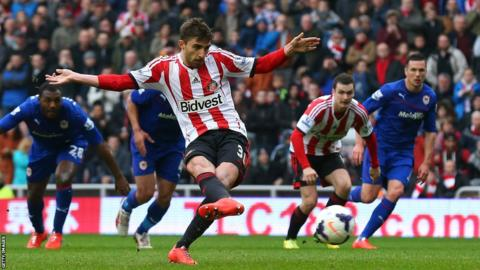 Fabio Borini scores a controversial penalty for Sunderland to make it 2-0 against Cardiff, who had Juan Cala sent off for conceding the spot kick