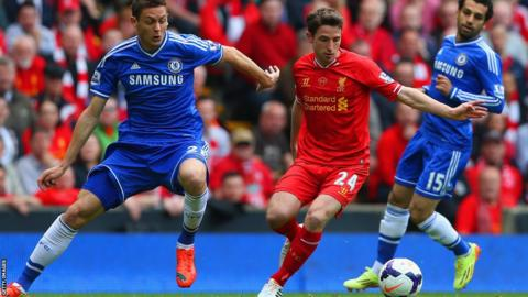 Wales midfielder Joe Allen in action for Liverpool against Chelsea in the Premier League
