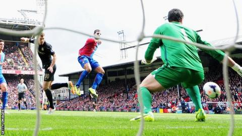 Edin Dzeko heads Manchester City into the lead against Crystal Palace