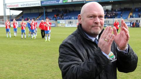 An emotional David Jeffrey acknowledges the applause of the Linfield fans after his final game in charge ended with a 5-2 victory away to Glenavon