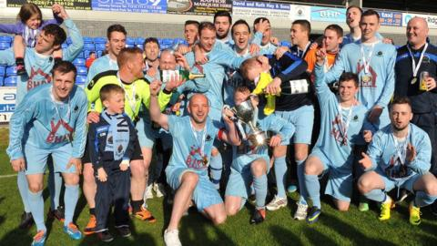 Institute celebrate clinching the Championship One title after finishing the campaign with a 2-0 victory over Limavady