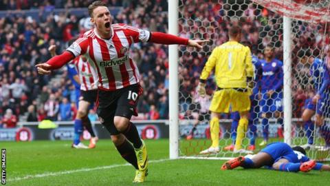 Sunderland striker Connor Wickham celebrates scoring the opening goal during the 4-0 win over Cardiff City