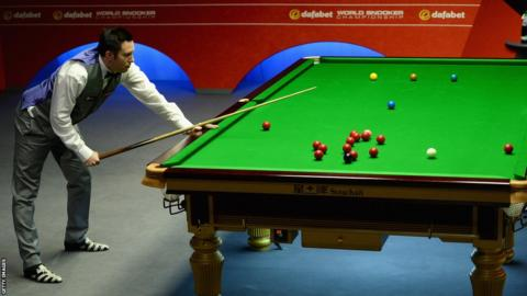 Dominic Dale during his 13-4 victory over Michael Wasley in the second round of the World Snooker Championships
