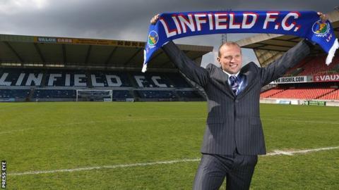 New Linfield manager Warren Feeney at Windsor Park