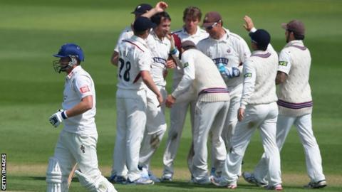 Somerset celebrate against Sussex