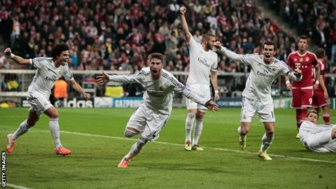 Sergio Ramos (centre) celebrates with Real team-mates