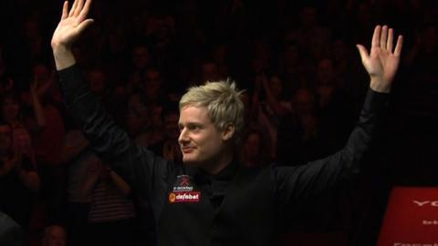 Neil Robertson becomes the first snooker player to complete 100 century breaks