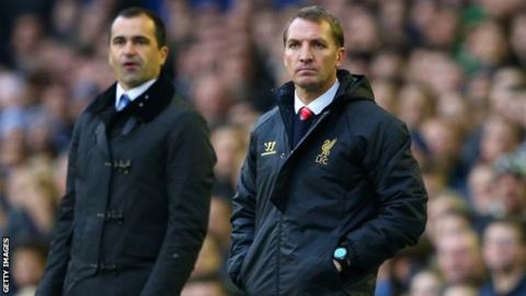Everton manager Roberto Martinez and Liverpool manager Brendan Rodgers