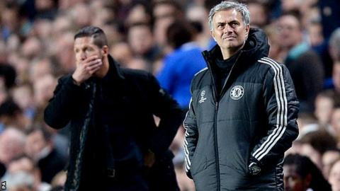 Atletico Madrid coach Diego Simeone and Chelsea boss Jose Mourinho