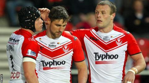 St Helens celebrate a score against London broncos