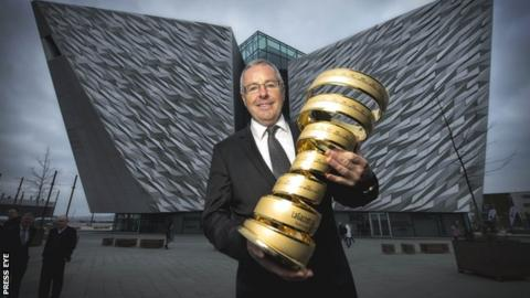 Former winner Stephen Roche with the Giro d'Italia at the Titanic Museum