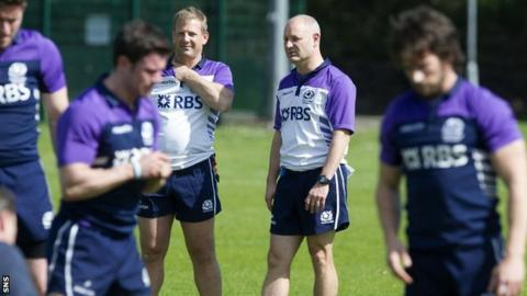 Scotland sevens coaching team and players