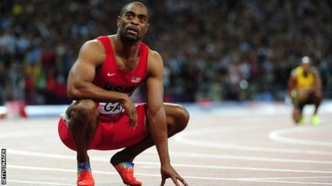 Tyson Gay gets one-year ban for failed drugs test - BBC Sport