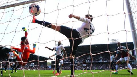 Tottenham keeper Hugo Lloris and his defence cannot keep out West ham's opener