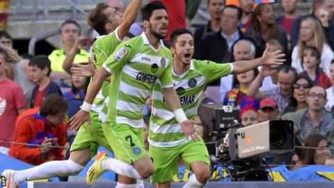 Getafe players celebrate