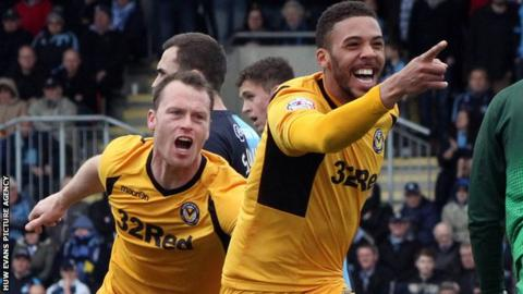 Michael Flynn and Christian Jolley celebrate a Newport County goal