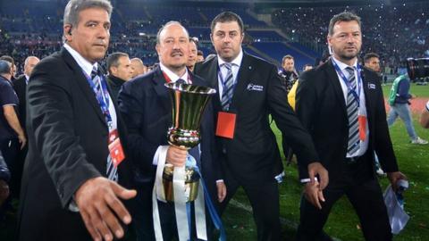 Napoli's Rafael Benitez holds the Italian cup