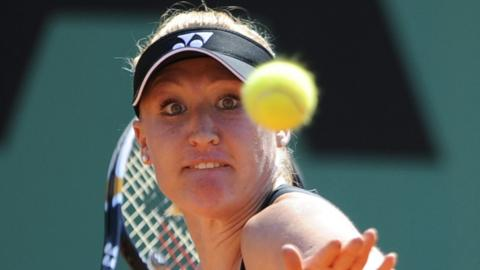 Widely known by her nickname Bally, she is pictured here playing a return to Poland's Agnieszka Radwanska during their women's first round match in the French Open in May, 2010