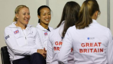Team player -Elena Baltacha and Anne Keothavong of Great Britain during previews ahead of the Fed Cup World Group Two Play-Offs between Argentina and Great Britain at Parque Roca on April 19, 2013 in Buenos Aires, Argentina