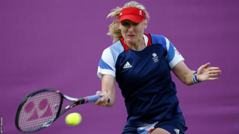 Elena Baltacha of Great Britain plays a forehand during the Women's Singles Tennis match against Ana Ivanovic of Serbia on Day 3 of the London 2012 Olympic Games at the All England Lawn Tennis and Croquet Club in Wimbledon