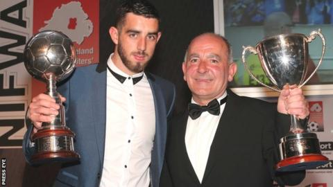 Joe Gormley and Tommy Breslin with their awards