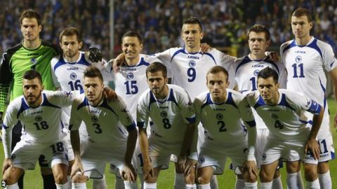 Bosnia-Hercegovina players ahead of a World Cup qualifier game against Liechenstein in October 2013