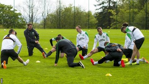 Celtic players training